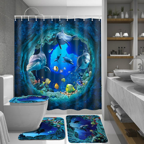Ocean Dolphin Deep Sea Shower Curtain Bathroom Set - Jonjarash Shop