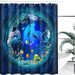 Ocean Dolphin Deep Sea Shower Curtain Bathroom Set