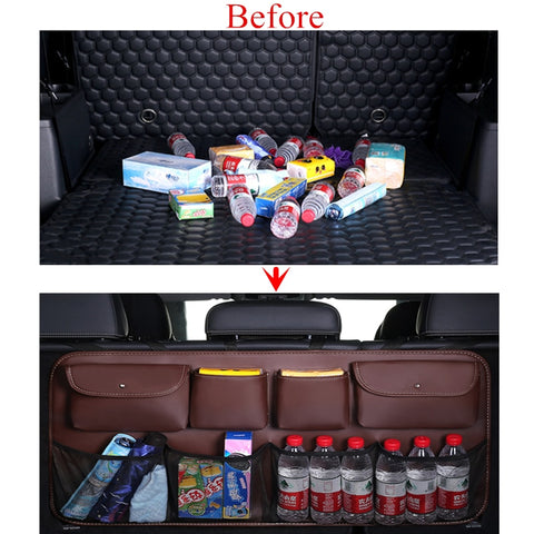 PU Leather Car Suv Trunk Storage Organizer Multi-Pockets Auto Back seat Stowing Tidying Interior Car Styling - Jonjarash Shop