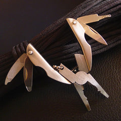 Portable Multifunction Folding Plier, Stainless Steel Foldaway Knife Keychain Screwdriver Tool