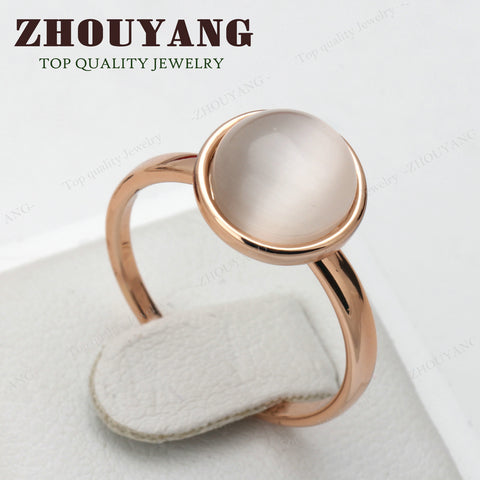 Cat's Eye Stone Ring Rose Gold Color Austrian Crystals - Jonjarash Shop