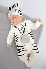 Baby Rompers cartoon zebras with cap - Jonjarash Shop