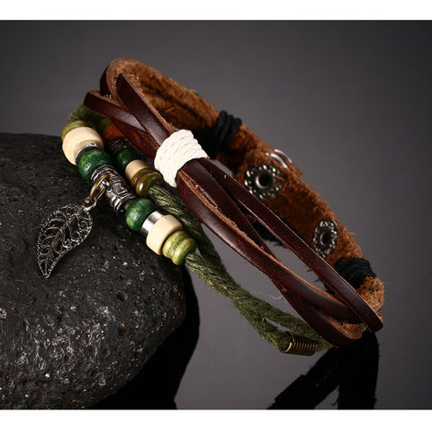 Unique Genuine Leather Bracelet Unisex, Retro Charm - Jonjarash Shop