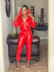 Faux Leather Set Red