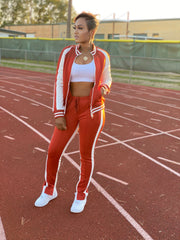 Cold Shoulder Track Suit Chili Red