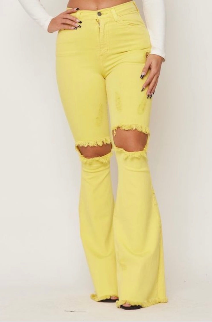 Yellow Fever Ripped Denim