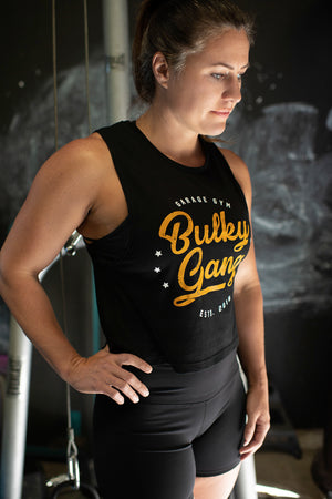 """Bulky Gang"" black muscle crop"