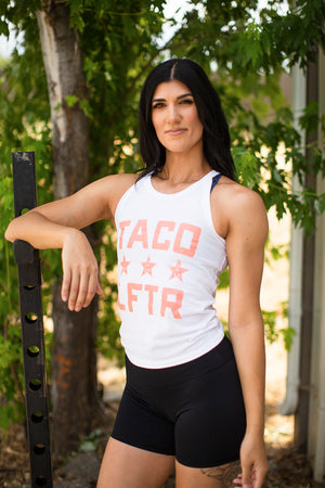 """TACO LFTR"" white high neck tank (xs-3xl)"