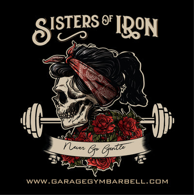 SISTERS OF IRON Banner 3x3 - Garage Gym Barbell