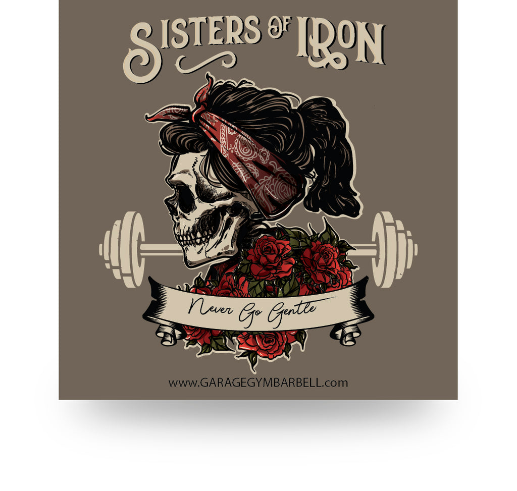 """Sisters of Iron"" Sticker - Garage Gym Barbell"