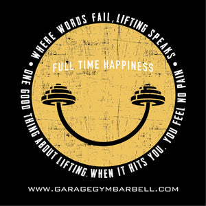 FULL TIME HAPPINESS Banner 3x3 - Garage Gym Barbell
