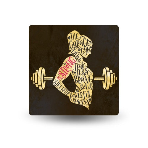 """Be Strong"" sticker - Garage Gym Barbell"