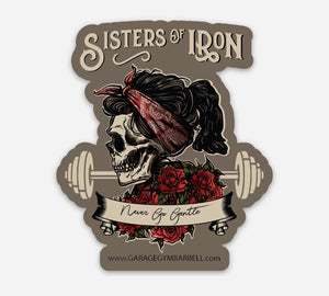 Sisters of Iron die cut sticker - Garage Gym Barbell