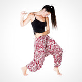 Harem Dance Buddha Pants in Red Aztec