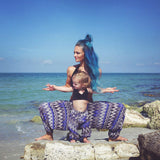 Blue Zags Harem Buddha Dance Pants Women & Child on Beach