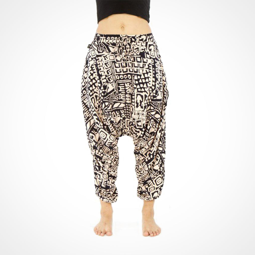 Aztec Pattern Buddha Pants in Beige