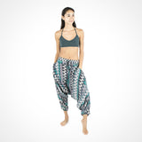 Yoga Dance Harem Pants ~ Green Zags