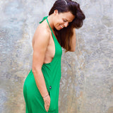 All in one halterneck Green Jumpsuit