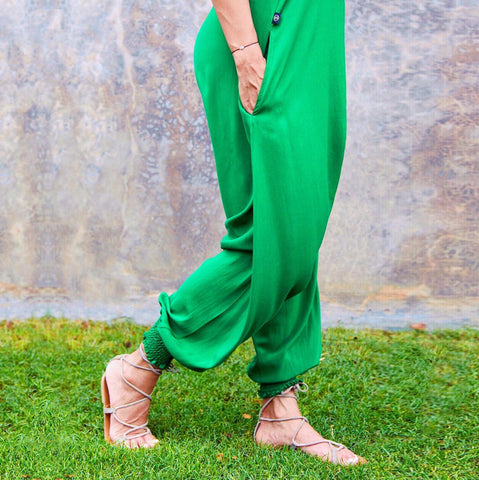 Bright Green Jumpsuit, Cuffed Ankles