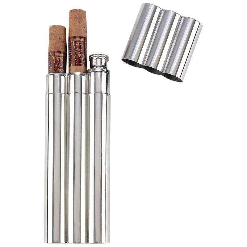2 Oz Flask / 2 No Crush Cigar Tubes Stainless Steel Travel Carry Case Holder