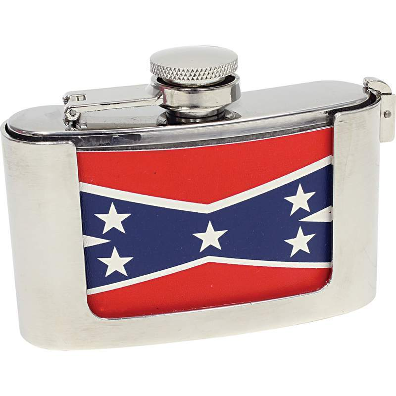 3oz Belt Buckle Flask With Rebel Flag Wrap