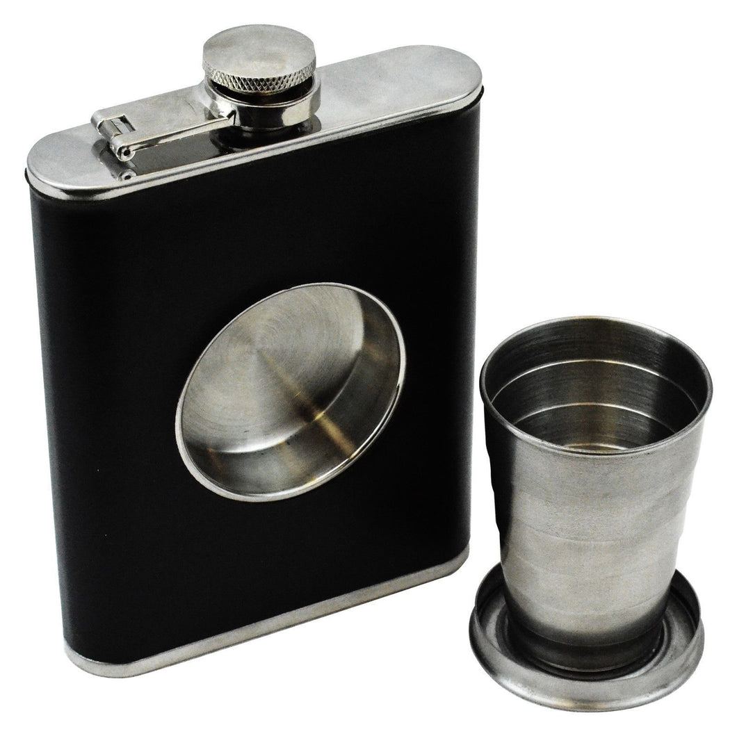 6.8oz Stainless Steel Flask Faux Leather With Built-In Cup