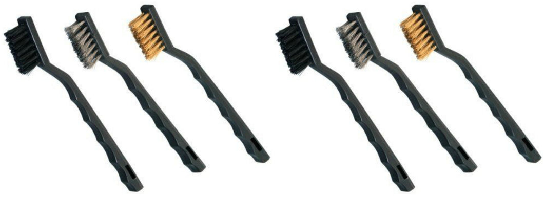 6pc Mini Wire Brush Set Brass Steel Nylon