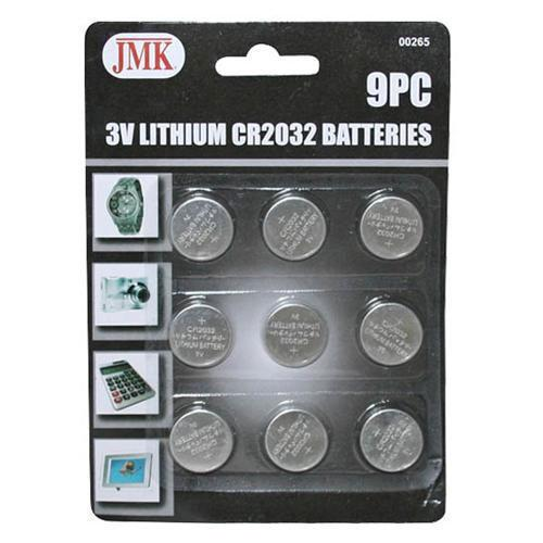 9pc 3V Lithium Batteries CR2016 CR2032 CR2025 Wafer Coin Cell Battery