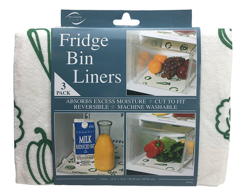 Fridge Bin Liners, 3 Count, 12-Inch By 24-Inch, White