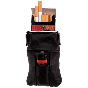 Genuine Leather Cigarette Case Lighter