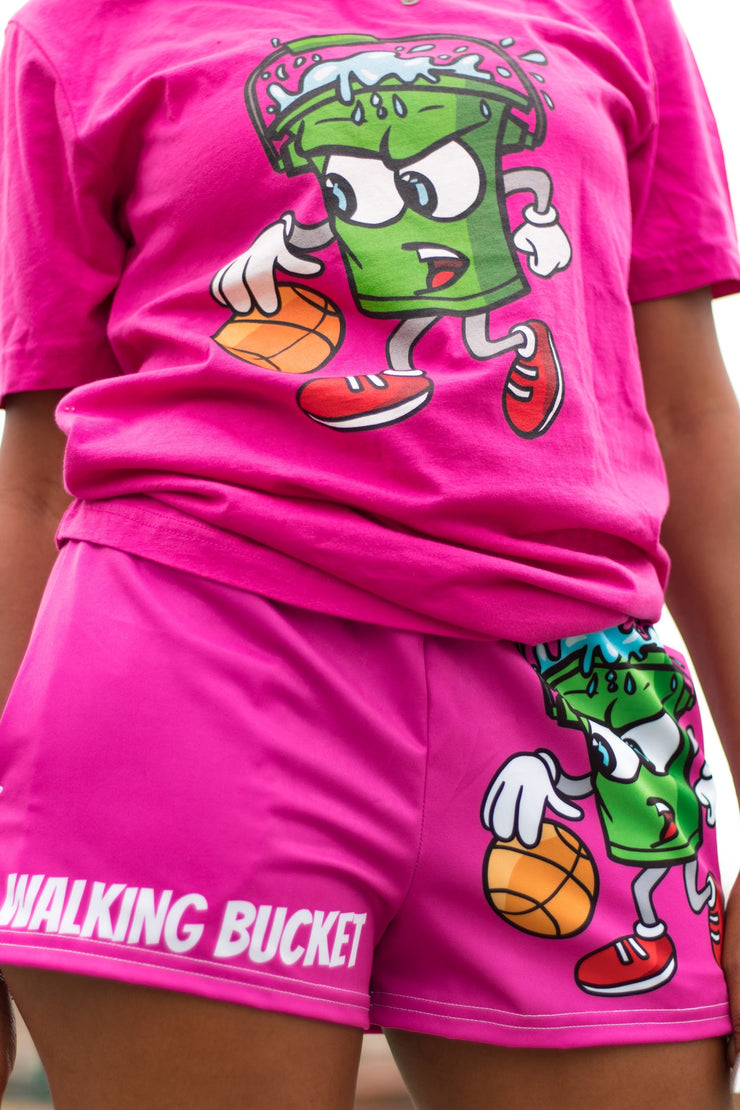 "Walking Bucket ""LOGO"" Shorts Women's (Berry Pink)"
