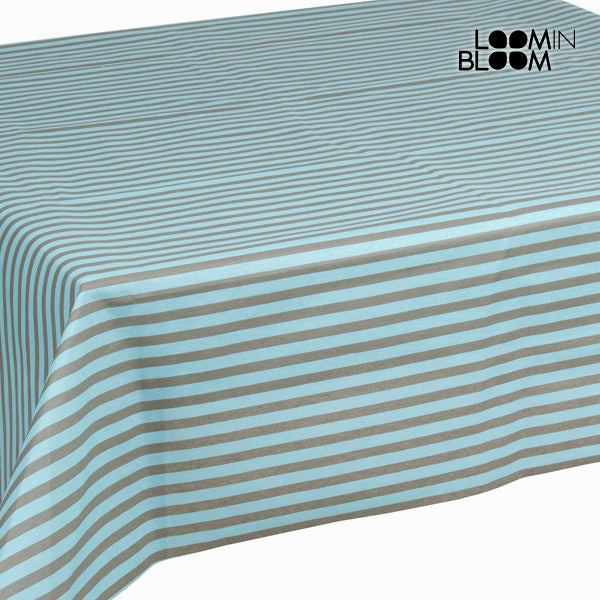 Turquoise stripes tablecloth by Loom In Bloom