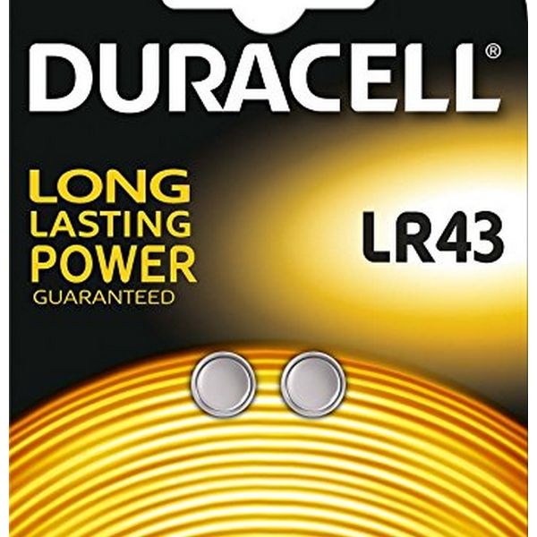 Alkaline Button Cell Batteries DURACELL DRBLR432 LR43 1.5V (2 pcs)