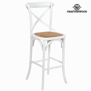 Wooden stool vintage white by Craftenwood