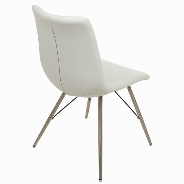 White faux leather chair by Craftenwood