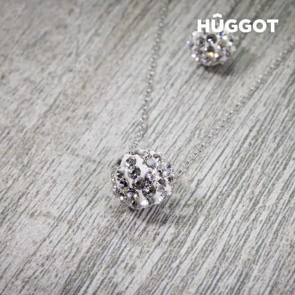 Hûggot Balls 925 Sterling Silver Pendant with Zircons and Double Chain (40 and 45 cm)