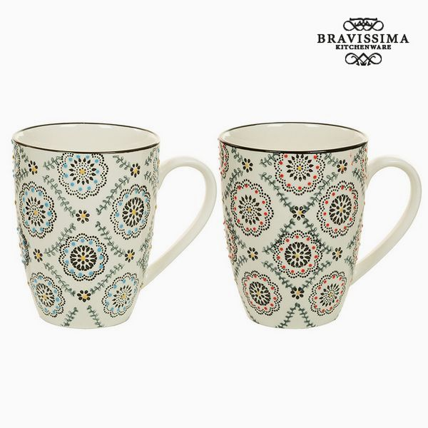 2 Piece Mug Set Porcelain Beige (2 pcs) - Queen Kitchen Collection by Bravissima Kitchen