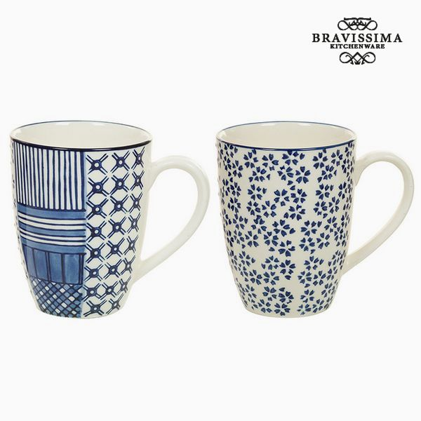 2 Piece Mug Set Porcelain Blue (2 pcs) - Queen Kitchen Collection by Bravissima Kitchen