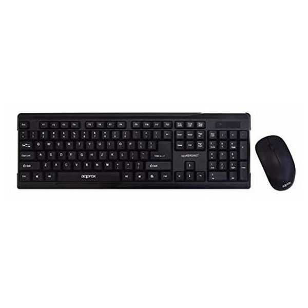 Keyboard and Wireless Mouse approx! APPKBWSAKIT USB QWERTY Black