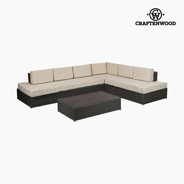 Sofa and table set (200 x 87 x 61 cm) Rattan Beige Brown by Craftenwood