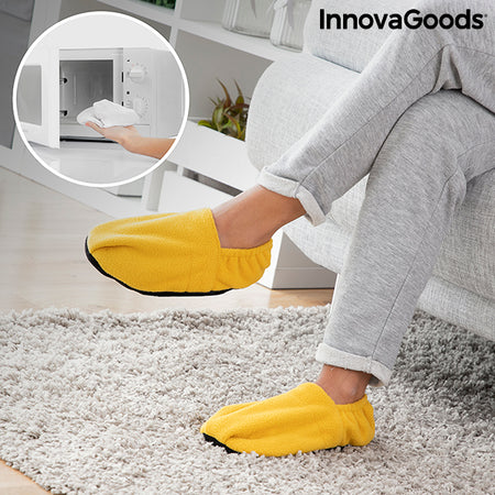 Microwavable Heated Slippers InnovaGoods Mustard