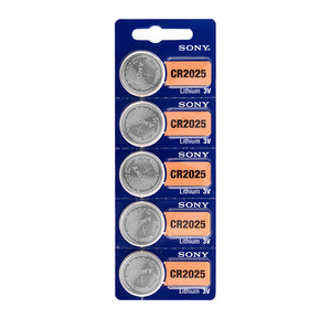 Sony CR2025 3V Lithium Button Cell Batteries (pack of 5)