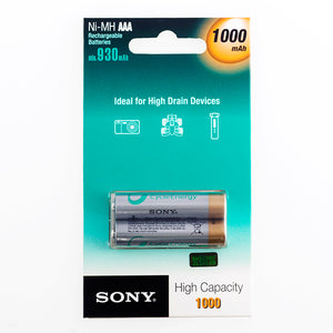 Sony Ni-MH AAA 1000 mA 1.2V Rechargeable Batteries (pack of 2)