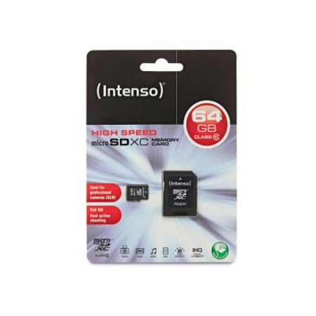 Micro SD Memory Card with Adaptor INTENSO 3413490 64 GB Class 10