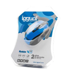 Optical mouse iggual PSI09087 1200 DPI Black Blue