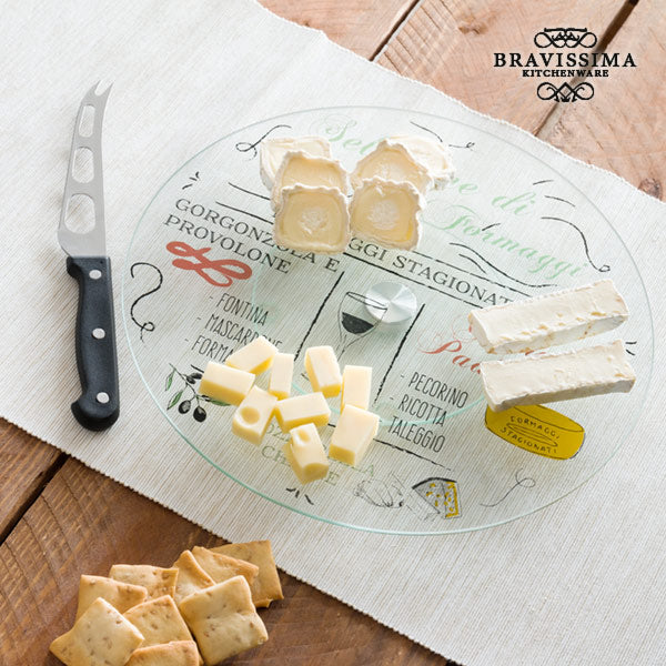 Bravissima Kitchen Rotating Glass Tray with Cheese Knife