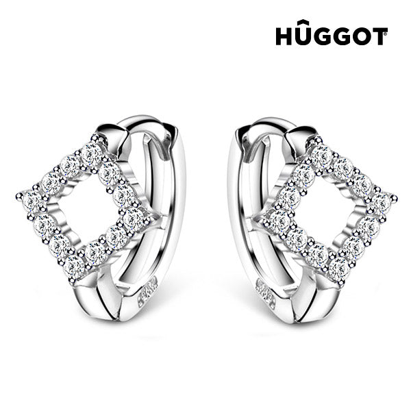 Hûggot Rhomb 925 Sterling Silver Earrings with Zircons
