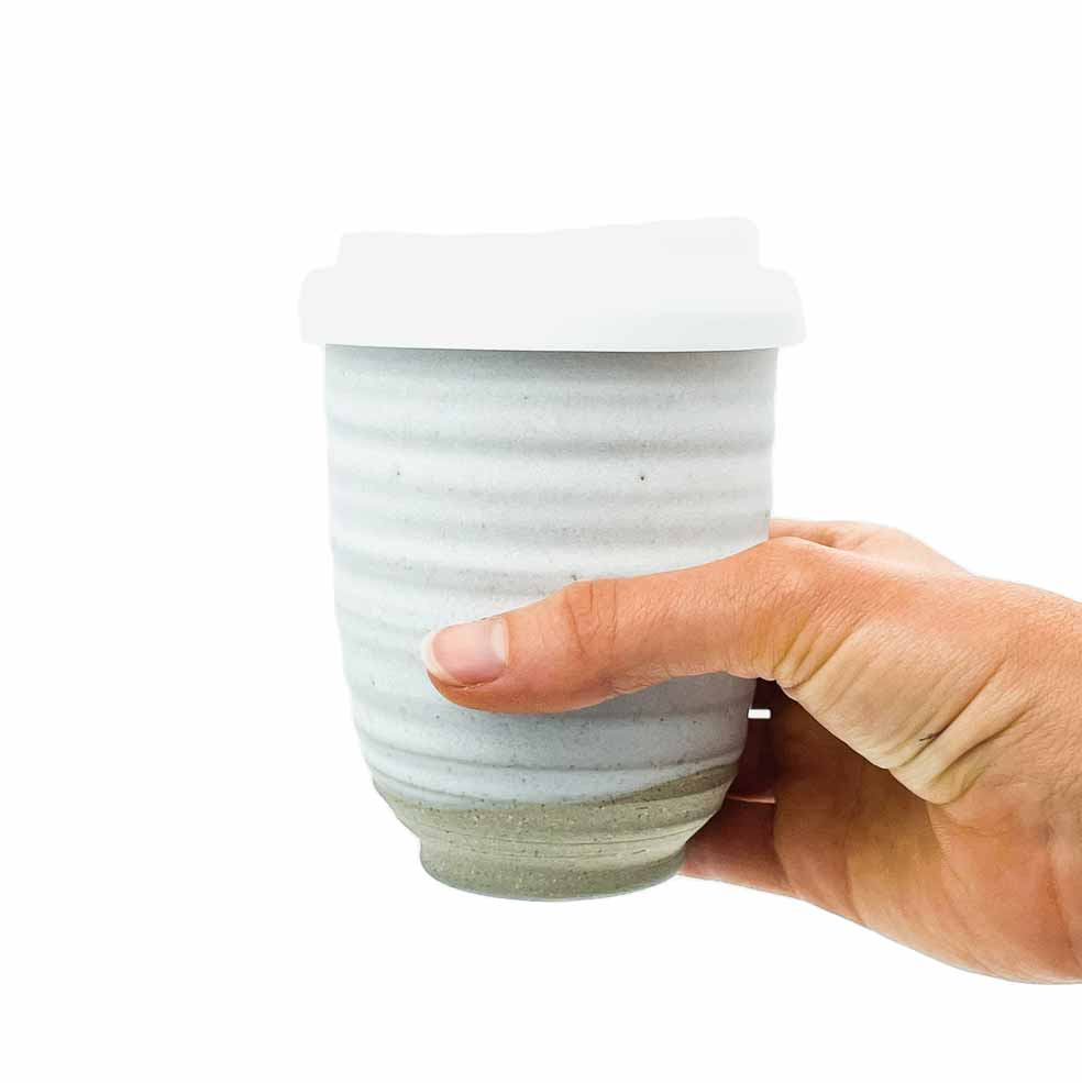 White Ceramic Keep Cup Ripple in Hand