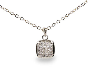 "15"" Crystal Square Necklace-4862"