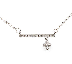 "15"" Crystal Bar and Cross Necklace-4865"